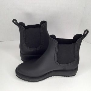 Jeffry Campbell wedge rubber ankle boots.